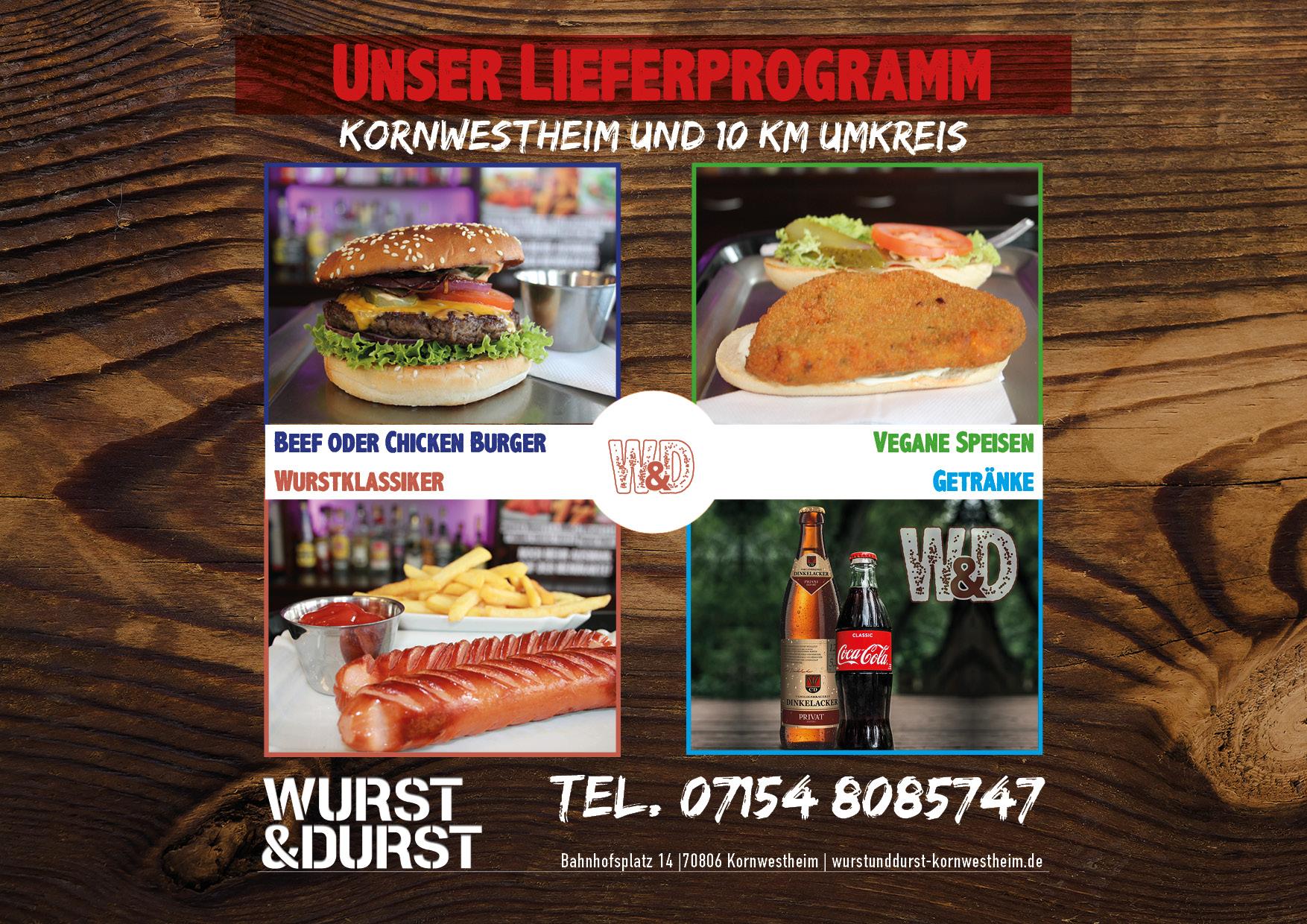 Burger und Fast Food bei Wurst & Durst - Lieferprogramm, Burger, Wurstklassiker, Vegane Speisen, Getränke
